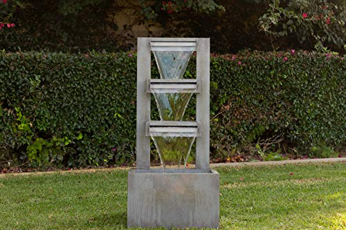 Alpine Corporation 4-Tier Modern Industrial Metal Fountain - Indoor/Outdoor Waterfall for Garden, Patio, Deck, Porch - Yard and Home Art Decor