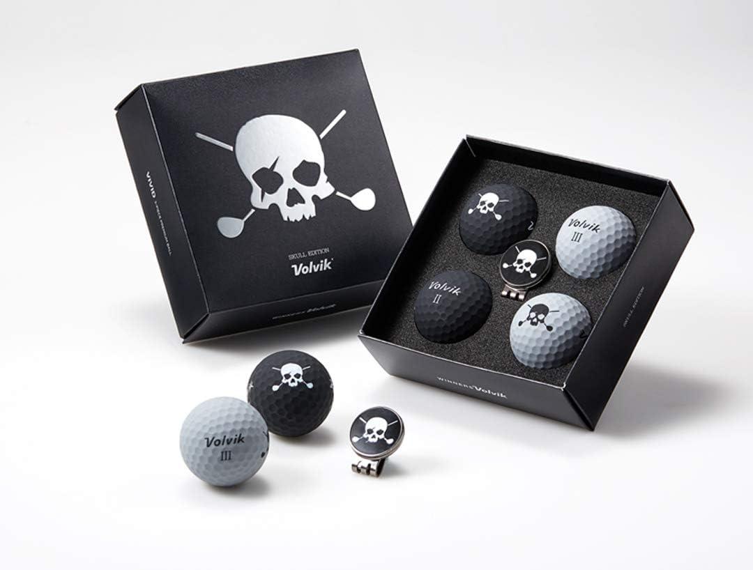 Volvik Vivid Golf Ball: Skull Edition 3.0 Black/Grey