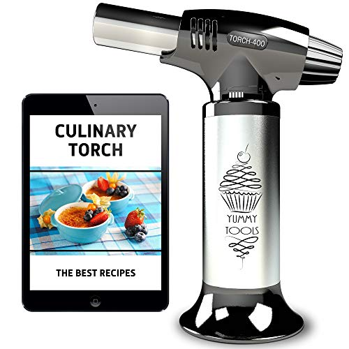 BEST CULINARY TORCH - Chef Torch for Cooking Crème Brulee - Hand Butane Kitchen Torch - Blow Torch with Adjustable Flame & Safety Lock - Cooking Torch for Baking, BBQs, and Crafts + Recipe eBook