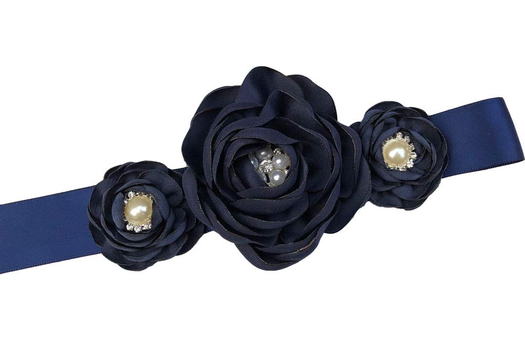 Bridesmaid and Flower girls sashes wedding sash pearls flowers belts Navy Blue