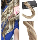 "Sunny 20"" 7pcs Clip In Human Hair Extensions Balayage Dark Golden Blonde Highlights Medium Blonde 100% Real Human Hair Extensions 120g/pack"