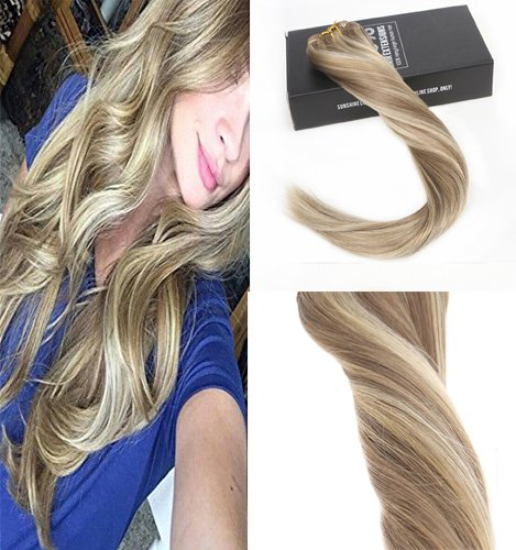 Sunny 14inch Real Human Hair Clip in Extensions Dark Ash Blonde Highlights with Golden Blonde 7pcs Full Head Clip in Remy Human Hair Extensions 7pcs 120g Per Pack