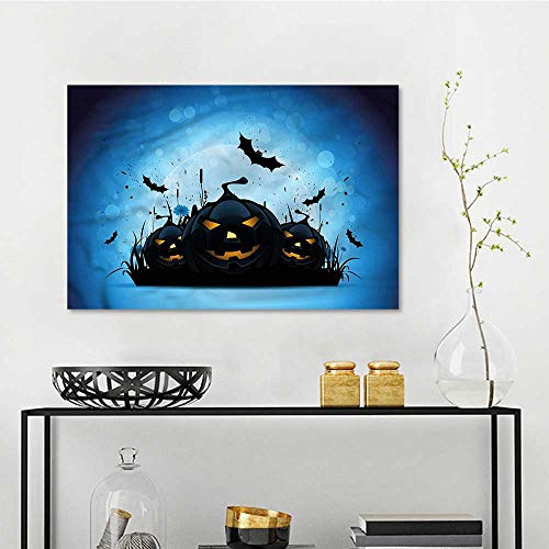 one1love Halloween Art Oil Painting Scary Pumpkins in Grass Modern Decorative Artwork W47 xL31 -