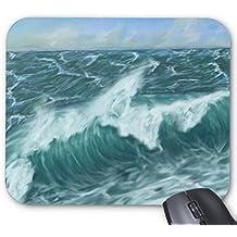 Mouse Mat Blue Sea Wave Image Mouse Pad 11.8 X 9.8 Inch