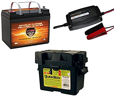 "Best Cheap Deal for VMAX857 & BC1204 &U1 BOX PKG 12 Volt 35Ah SLA AGM Deep Cycle Group U1 Battery U1 Battery Box & VMAX 3.3Amp 4-Stage 12V Microprocessor Controlled ""Smart"" Charger/ Tender/ Maintainer by VMAX USA - Free 2 Day Shipping Available"