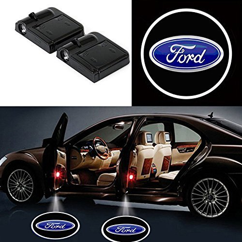 Soondar 2 pcs Universal Wireless Car Projection LED Projector Door Shadow Light Welcome Light Laser Emblem Logo Lamps Kit, No Drilling (For Ford)