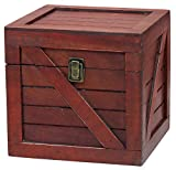 Vintiquewise QI003251.C C Wooden Stackable Lidded Crate (Cherry)