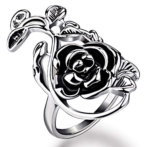 soAR9opeoF Gothic Women's Rose Flower Ring, Vine Alloy Enamel Finger Ring Cosplay Jewelry Gift for Birthday Valentines Day Wedding Cocktail Party Banquet Silver 17mm