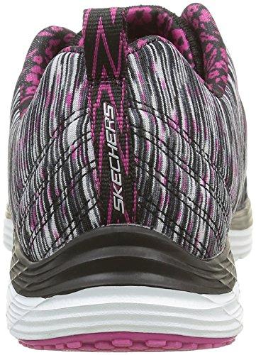 Skechers ValerisFull Force, Baskets Basses Femme Noir (Bkwp Noir/Blanc/Rose)