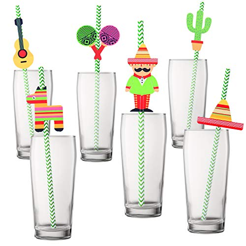 ec044e718 Resinta 48 Sets Mexican Fiesta Party Paper Straws Cactus Sombrero Donkey  Pattern Striped Drinking Decorative Straws