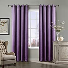 COFTY Violet 50Wx63L Inch (set of 2 panels) Solid Matt Luxury Heavyweight Velvet Curtain Drape with Blackout Thermal Lining - Nickle Grommet