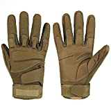 ETrance Breathable Military Equipment Full Finger Tactical Gloves with Foam Knuckle Protection for Hunting Climbing 1 Pair M/L/XL (Sandy Yellow, L (20-23cm))