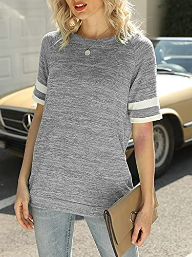 BEQUEMER LADEN WOMEN'S CREW NECK SHORT SLEEVE T SHIRTS STRIPED TEE CAUSAL BLOUSES TUNIC TOPS