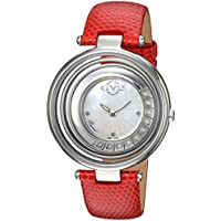 GV2 by Gevril Vittorio Womens Diamond Swiss Quartz Red Leather Strap Watch (1600L)