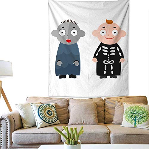 Anyangeight Horizontal Tapestry Vector Illustration of Cute Kids Wearing Halloween Costumes 60W x 80L INCH