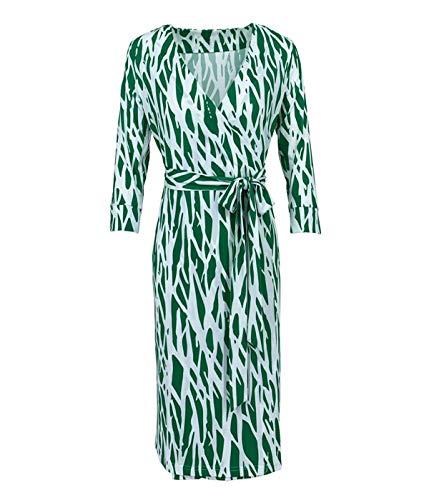 - xv DVF Women Summer Midi Dress Green Geometric Print Wrap Party Dress Half Sleeve