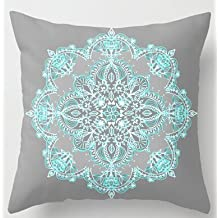Alexander New Teal And Aqua Lace Mandala On Grey Cool Cover Two Size Zippered Home Producte Soft Pillowcase 20x20inch