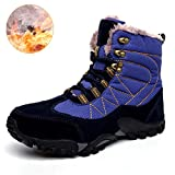 TQGOLD Mens Waterproof Mid Outdoor Hiking Boots Warm Non Slip Winter Boots Fully Fur Lined(Blue,Size 40)