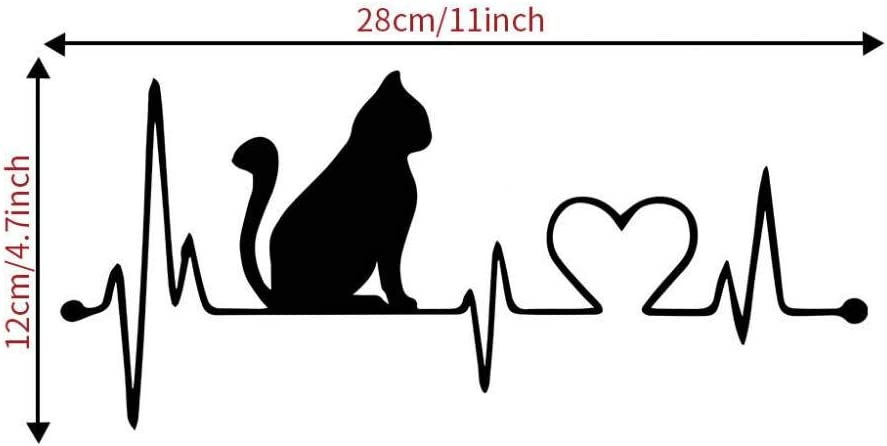 Amazon Com Lxssg Black Carved Cat Heartbeat Wall Sticker Home Decor Couple Wall Sticker Bedroom Kids Room Nursery Wallpaper Kitchen Dining