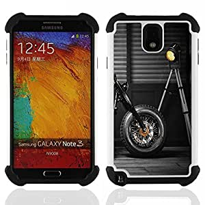 GIFT CHOICE / Defensor Cubierta de protección completa Flexible TPU Silicona + Duro PC Estuche protector Cáscara Funda Caso / Combo Case for Samsung Galaxy Note 3 III N9000 N9002 N9005 // Motorbike Wheel Black Design Lamp Garage //