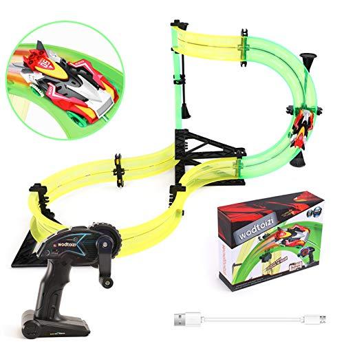 (wodtoizi RC Car Race Track Playset Slot Car Racing Track Set Remote Control Speeding Car Magnetic DIY Track Birthday Gift Fun Educational Toys for Kids' Creativity Imagination)