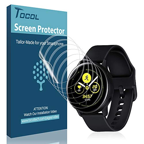 [6 Pack] TOCOL Screen Protector for Samsung Galaxy Watch Active 2 (40mm) / Galaxy Watch Active, Not Compatible with Galaxy Watch 2 42mm [Full Coverage] Anti-Bubble with Lifetime Replacement Warranty