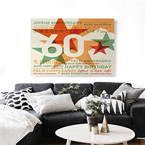 60th Birthday Canvas Wall Art for Bedroom Home