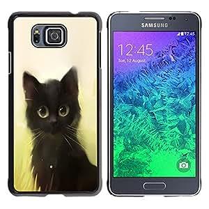 LECELL -- Funda protectora / Cubierta / Piel For Samsung GALAXY ALPHA G850 -- Cute Painting Kitten Cat Black Pet Animal --
