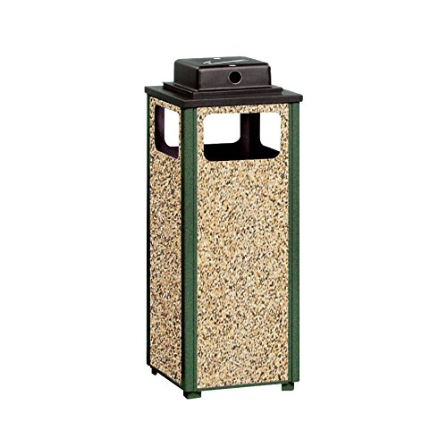 - Rubbermaid Commercial Products Dimension 500 Series Ash/Trash Refuse Container with Weather Urn (12-Gallon) (FGR12WU202PL)