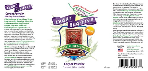 Flea Powder For Carpets Cedar Bug Free Carpet Powder Kills