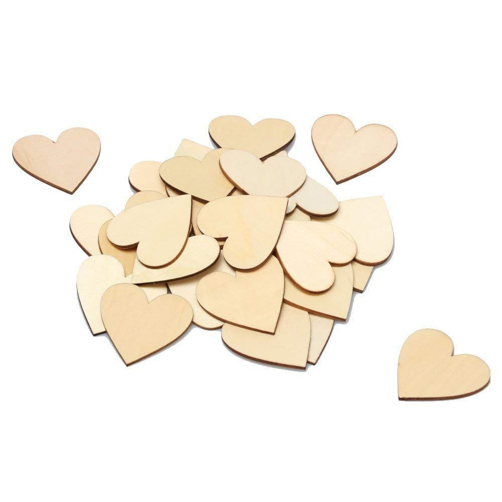 RERIVER 2-Inch Unfinished Wooden Heart Blank Wood Cutout Heart Slices Discs DIY Crafts(100pcs) by RERIVER