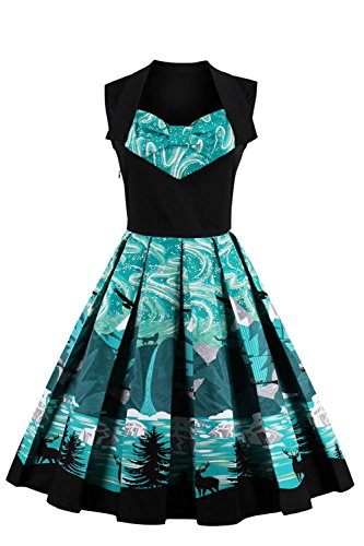 Women Print Vintage Cocktail Dresses Short Evening Gala Ball Party Gown,Teal,M
