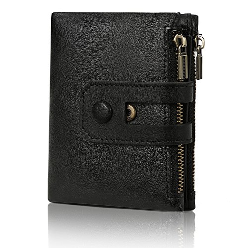 Fezhiomu Original Classic RFID Men's Bifold Genuine Leather Wallet and Purse Credit Card Holder Case with Gift Box - Classic Fold Bi