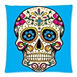 uloveme The slimmingpiggy comfortable bedding color flower skeleton head 20x20 inch pillow case throw pillow case of ,20 x 20 inches / 50 by 50 cm decoration,gift for her,kids girls,office,home thea