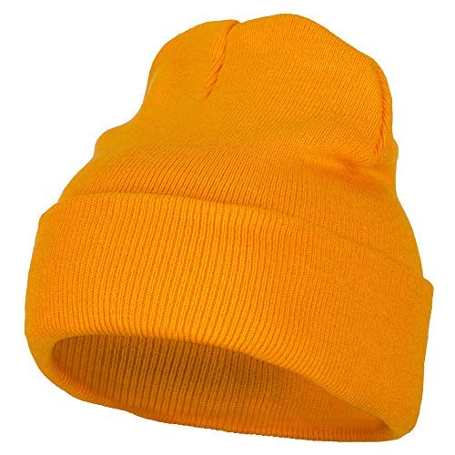(12 Inch Long Knitted Beanie - Yellow OSFM)