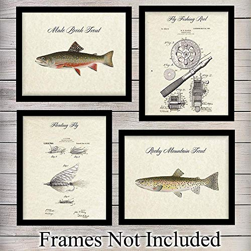Fly Fishing Trout Prints - Trout And Fly Fishing Unframed Wall Art Prints - Set of Four - Great For Fishermen, Home Decor or Gifts - Ready to Frame (8X10) Vintage Photos