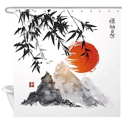 SZZWY Japanese Bamboo Trees Sun and Mountains Bath Curtain Polyester Fabric Waterproof Asian Ink Painting Shower Curtains Shower Curtain Hooks Included Red