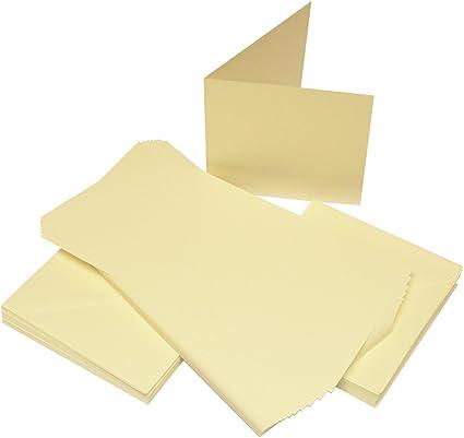 """Craft UK 5/"""" x 5/"""" Cards /& envelopes Pack of 50  IVORY Line 245"""