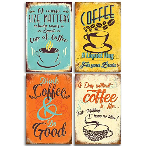 - Coffee Sign Coffee Decor. Multi Color Shop Posters Prints Wall Art for Any Kitchen, Cafe Bar, Diner or Restaurant! Add a Vintage Style to your Home. Set of 4 posters 11x17in Christmas
