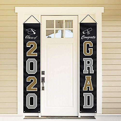 ORIENTAL CHERRY 2020 Graduation Party Decorations - Hanging Flags Banners Outdoor Home Door Porch Décor - Black Silver Gold
