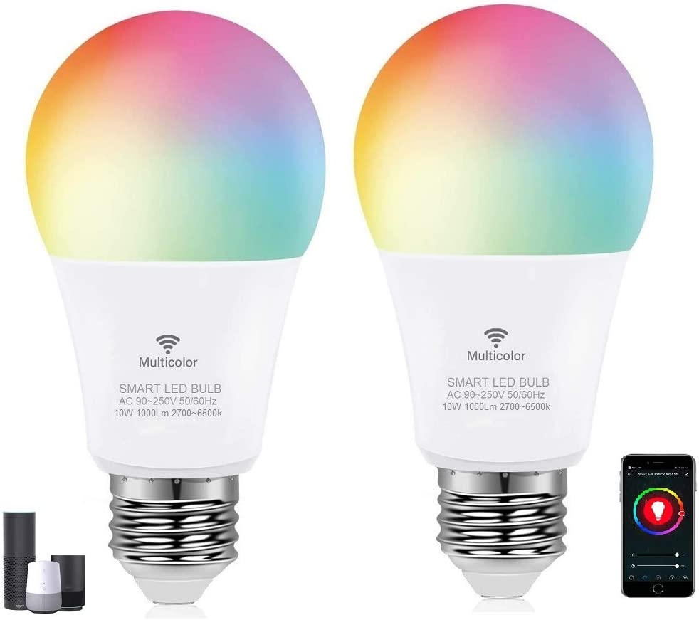WiFi Smart LED Light Bulb,A21 E26 10W Multicolor ,Dimmable RGB+C+W Color Changing Lights APP Remote Control Light Bulb, Compatible with Alexa and Google Home Assistant ,No Hub Required,2 Packs