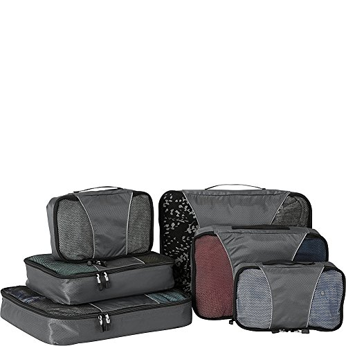 eBags Classic Small/Medium/Large Packing Cubes for Travel - 6pc Sampler Set - (Titanium)