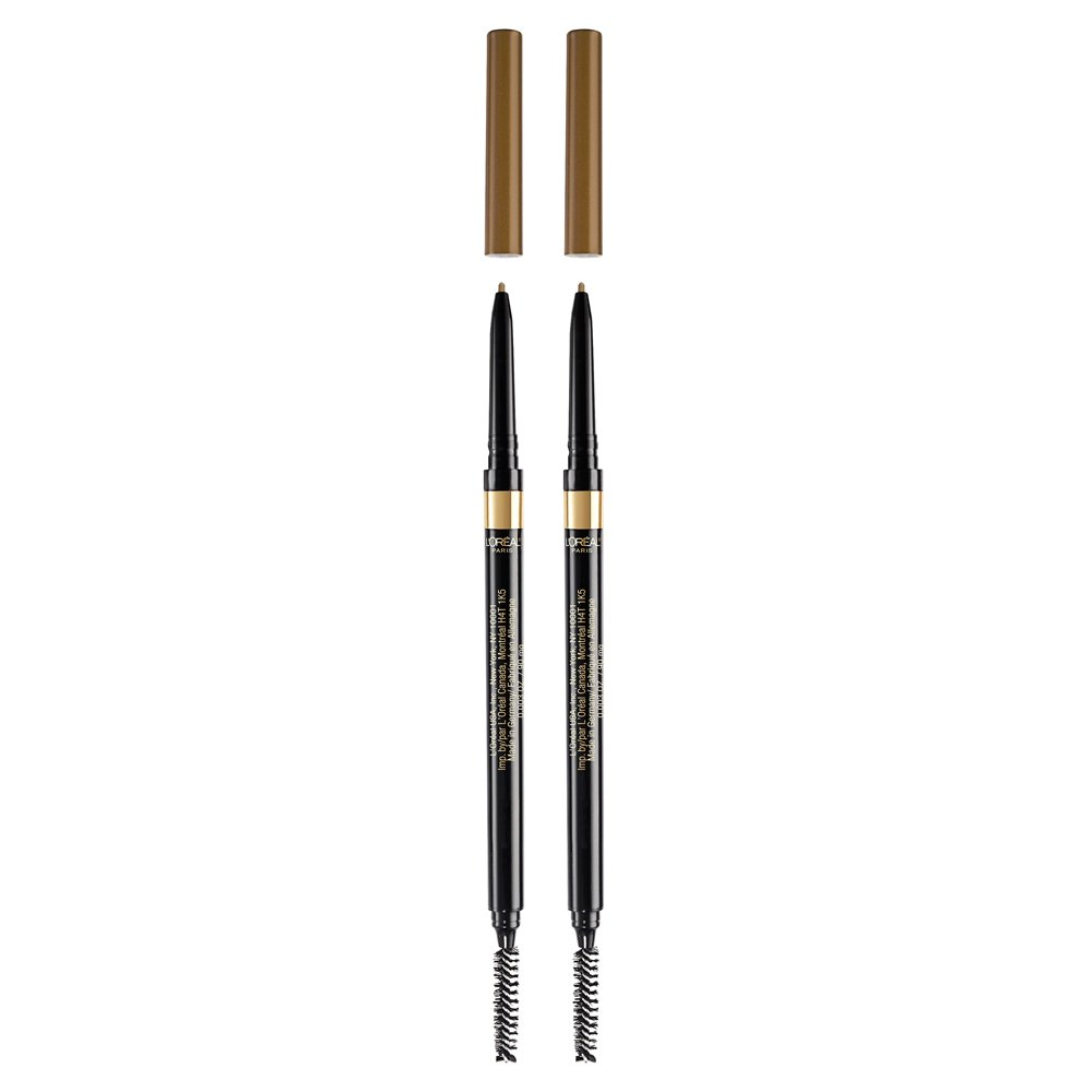 L'Oreal Paris Makeup Brow Stylist Definer Waterproof Eyebrow Pencil, Ultra-Fine Mechanical Pencil, Draws Tiny Brow Hairs & Fills in Sparse Areas & Gaps, Dark Blonde, 0.003 Ounce (Pack of 2)