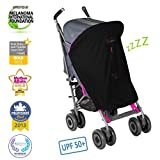 SnoozeShade Original - baby stroller sunshade and blackout blind (with Limited Edition magenta pink trim)