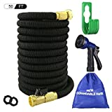 Big Little Goods 50ft Garden Hose Expandable Water Hose with Metal 8 Function Spray Nozzle, 3/4 Solid Brass Fittings, Extra Strength Fabric - Flexible Expanding Hose with Storage Bag