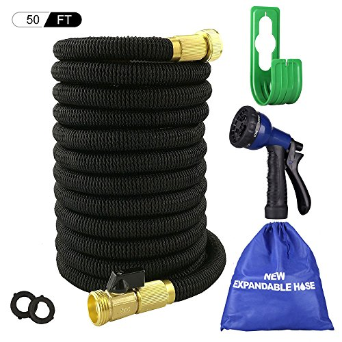 Big Little Goods 50ft Garden Hose Expandable Water Hose with Metal 8 Function Spray Nozzle, 3/4