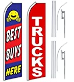 Car Auto Dealer Swooper Flutter Feather Flags & Poles 2 Pack-Best Buys-Trucks