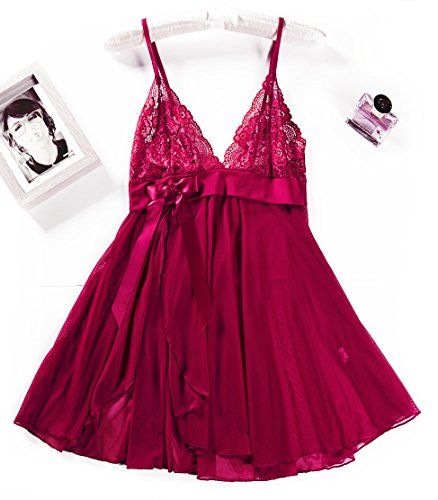 - Womens Mesh Lace Sexy Nightgown Camisole Nighty Baby-Doll Open Front Lingerie Set A5 Maroon M