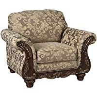 Ashley Irwindale Collection 8840420 48 Chair with Fabric Upholstery Carved Detailing Rolled Arms and Traditional Style in