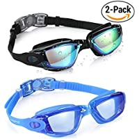 Aegend Swim Goggles, Pack of 2 Swimming Goggles Crystal...